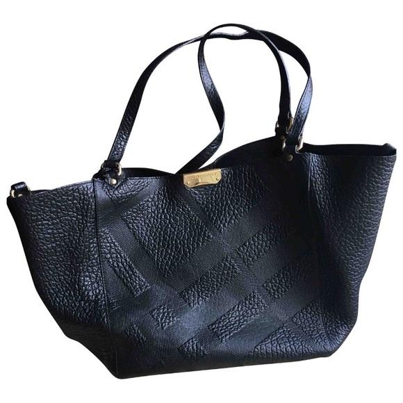 7201e9ddbbe Burberry Handbags - Burberry Black Check Embossed Grain Leather Bag